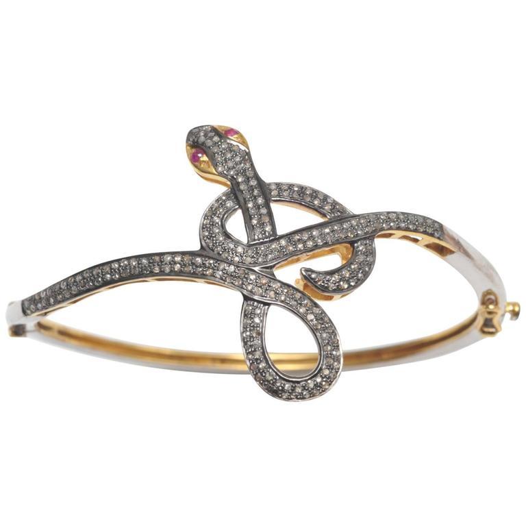 Pave`- Set Diamond and Sterling Silver Snake Bracelet