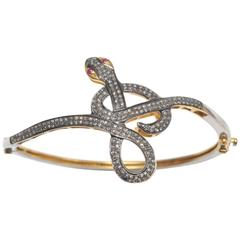 Pave`- Set Diamond and Sterling Silver Snake Bracelet
