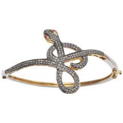 Pave Set Diamond Sterling Snake Bracelet