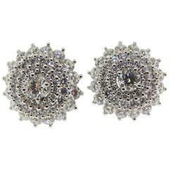 4.58 Carats Round Diamonds Gold Cluster Earrings