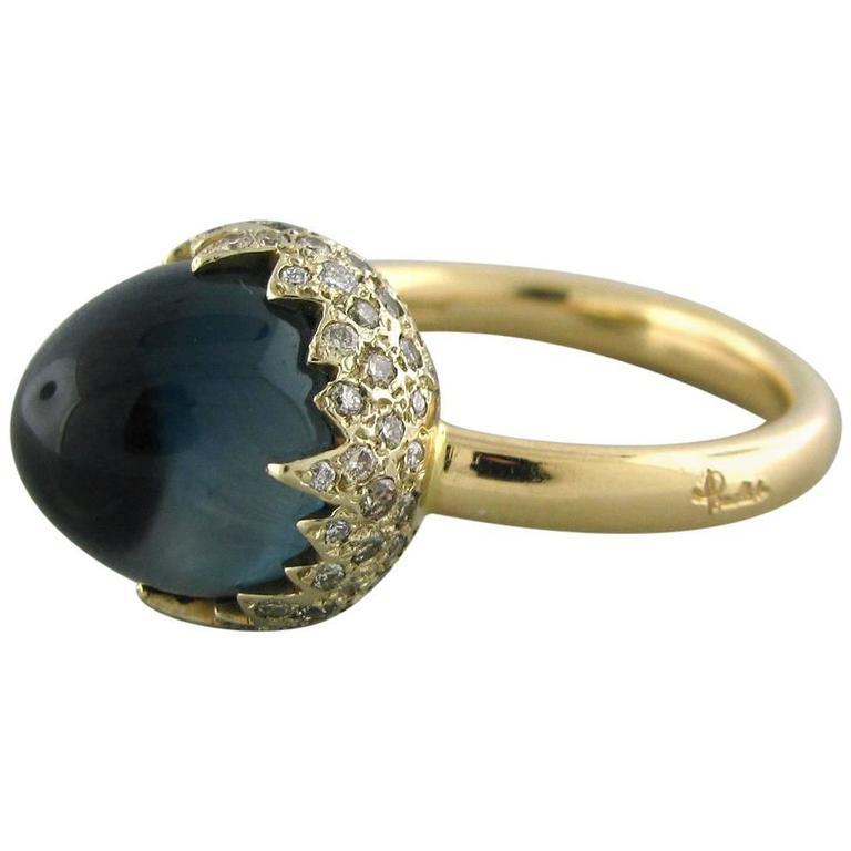 Pomellato Chimera Blue Topaz Diamond Gold Ring