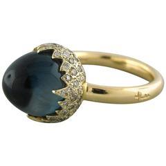 Pomellato Chimera Blue Topaz Diamond Gold Ring