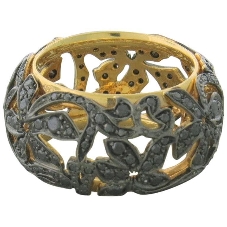 Pomellato Arabesque Black Diamond Gold Wide Band Ring For Sale at 1stdibs