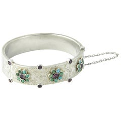 Fine Austro Hungarian Ruby Turquoise Flower Etched Silver Bangle Bracelet