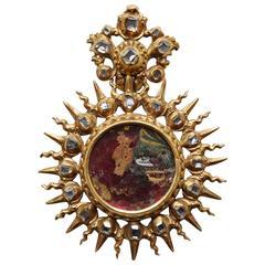 Renaissance Diamond Gold Devotional Locket