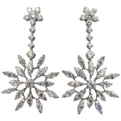 Diamond Gold Starburst Drop Earrings