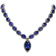 Michael Christoff 39 Carats Tanzanites Diamond Gold Necklace