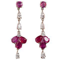 Diamond Ruby White Gold Earrings