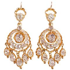 Victorian Diamond Gold Girandole Earrings