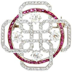 An Art Deco Geometrical Diamond and Ruby Brooch
