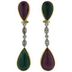 Gold Emerald Ruby Diamond Drop Earrings