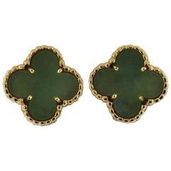 Van Cleef & Arpels Vintage Alhambra Jade Gold Earrings