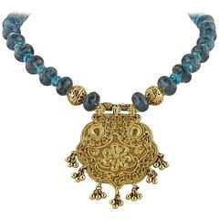 Moss Aquamarine Apatite Beaded Necklace With Gold Medallion
