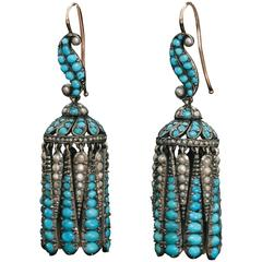 Victorian Turquoise and Pearl Fringe Earrings