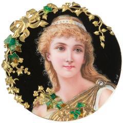 1900s Art Nouveau Enameled Gold Miniature Portrait Brooch