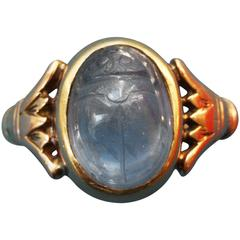 Thomas Brogan Egyptian Revival Sapphire Gold Scarab Ring