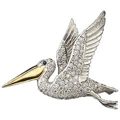 A White Gold And Diamond Pelican Brooch By E. Wolfe & Co.