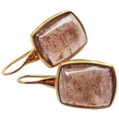 Tourmaline Cabochon Gold Drop Earrings