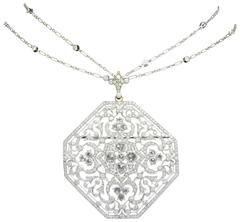 Kwiat Octagonal Diamond Gold Pendant