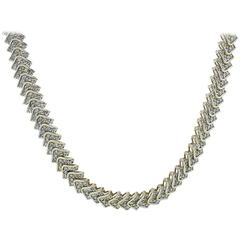 5.5 Carats Diamonds Gold Chevron Necklace