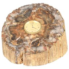 Van Cleef & Arpels Gold and Petrified Wood Desk Clock