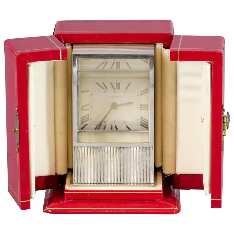 Rare Cartier Mystery Prism Silver Clock