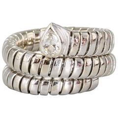 Bulgari Tubogas Diamond Gold Flexible Ring