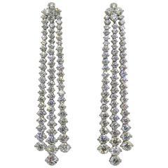 Graduated Diamond Gold Drop Chandelier Earrings