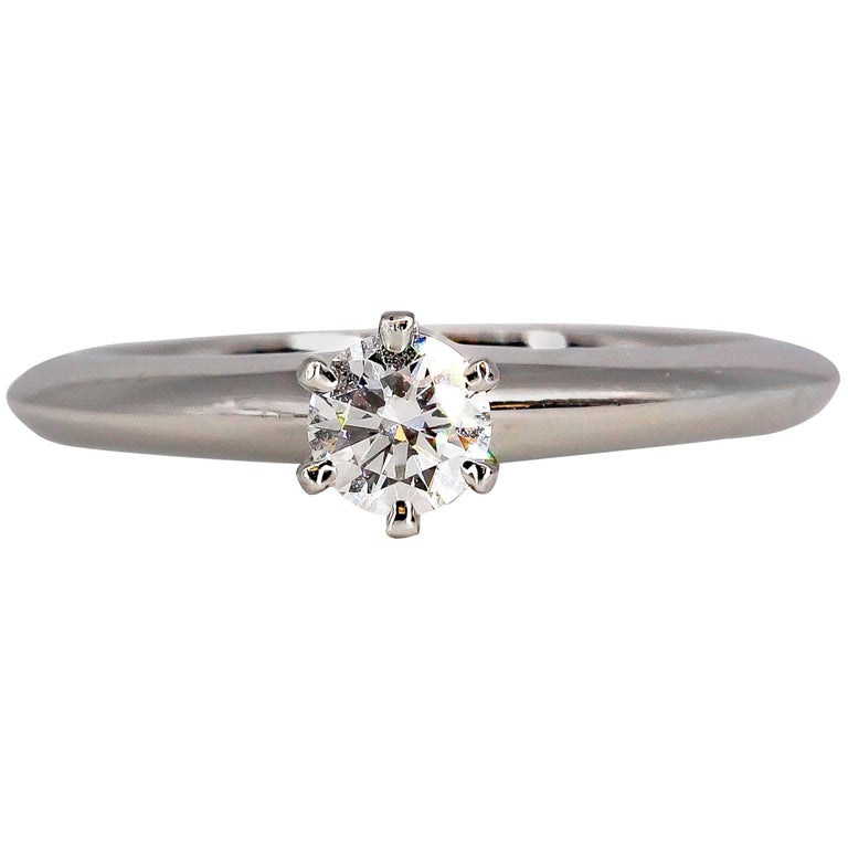 Tiffany & Co. .23 Carat Diamond and Platinum Engagement Ring For Sale