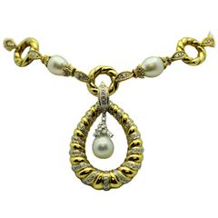 Long South Sea Pearl Diamond Gold Necklace with Pendant