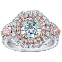 Graceful Fancy Light Greenish Blue GIA 1.69 Carat Diamond Two Color Gold Ring