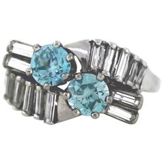 1940s Retro Blue Zircon Diamond Gold Bypass Ring