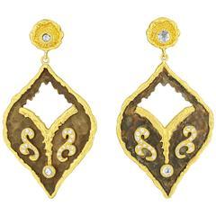 Victor Velyan Diamond Earrings in Brown Patina