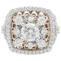 Gabriel & Co. 3.10 Carat Diamond White and Rose Gold Ring