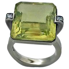 20th Century Lemon Quartz Diamond Sterling Ring