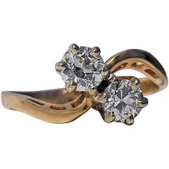1920s Diamond Gold Twist Crossover Ring