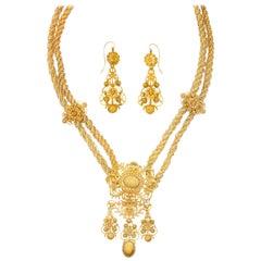 Georgian Cannetille Work Gold Necklace Earrings Set