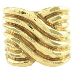 Henry Dunay Hammered Gold Finished Wrap Ring
