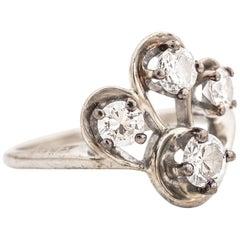 1940s Retro Old European Diamond Gold Ring