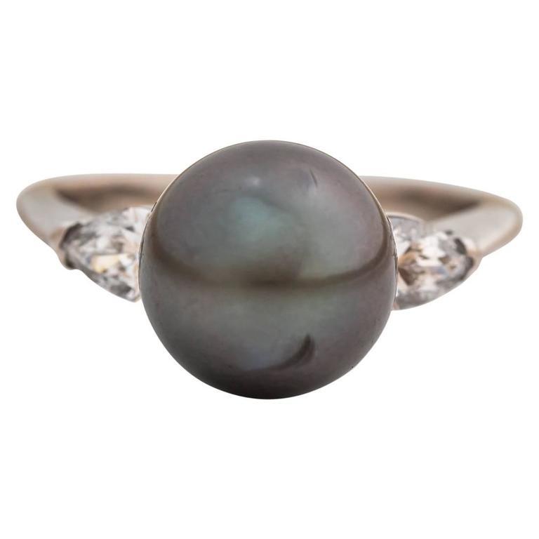 Tahitian South Sea Black Pearl Pear-Shape Diamonds Gold Ring