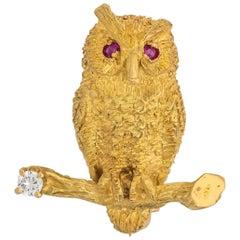 1950s Retro Ruby Diamond Gold Owl Pin