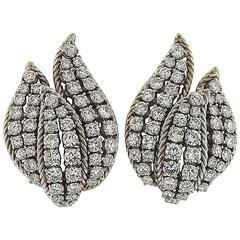 Impressive 1950s Diamond Gold Earrings