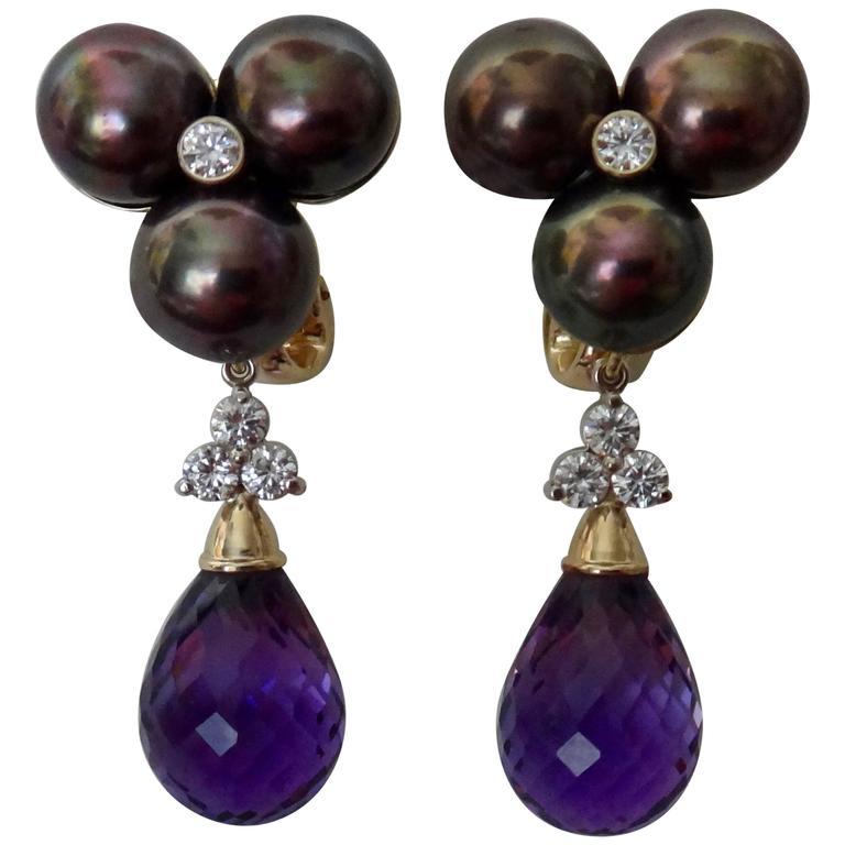 Michael Kneebone Black Pearl Diamond Amethyst Briolette Drop Earrings