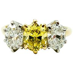 Dazzling GIA Cert Natural Color Fancy Intense Yellow Diamond Three Oval Ring