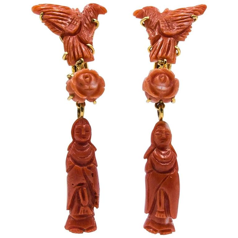 Unusual Color Gradation  Chinese Motif Coral Earclips For Sale