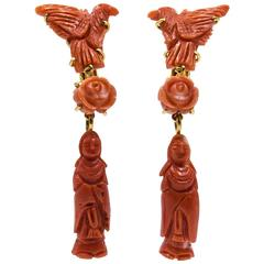 Unusual Color Gradation  Chinese Motif Coral Earclips