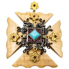 Silver and Gilt Decorative Maltese Cross Pendant