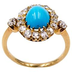 Charming Turquoise Diamond Gold Antique Cluster Ring
