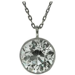 3.79 Carat Old European Cut Diamond Platinum Pendant