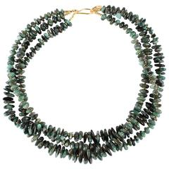 Elegant Three Strand Necklace of Polished Emerald Chips